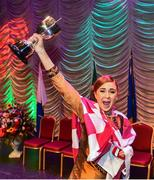 16 February 2019; Representing Connacht, Emily Greaney from Abbeyknockmoy, Galway lifts the cup after winning the Rince Seit catagory during the Cream of The Crop at Scór na nÓg All Ireland Finals at St Gerards De La Salle Secondary School in Castlebar, Co Mayo. Photo by Eóin Noonan/Sportsfile