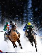 17 February 2019; High Duty, with Dennis Schiergen up, left, and Alvin the Drummer, with Kieran O'Neill up, during the GP Moyglare Stud flat race at the White Turf horse racing event at St Moritz, Switzerland. Photo by Ramsey Cardy/Sportsfile