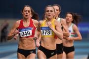17 February 2019; Kerry O'Flaherty of Newcastle & District A.C., Co. Down, competing in the Women's1500m event during day two of the Irish Life Health National Senior Indoor Athletics Championships at the National Indoor Arena in Abbotstown, Dublin. Photo by Sam Barnes/Sportsfile