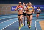 17 February 2019; Kelly  Neely of City of Lisburn AC, Co. Down, left, and Kerry O'Flaherty of Newcastle & District A.C., Co. Down, competing in the Women's1500m event during day two of the Irish Life Health National Senior Indoor Athletics Championships at the National Indoor Arena in Abbotstown, Dublin. Photo by Sam Barnes/Sportsfile