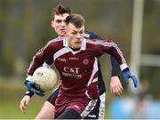 16 February 2019; Michael Meaney of Marino Institute of Education in action against Conor Matthers of New York during the Electric Ireland HE GAA Corn na Mac Leinn Shield Final match between Marino Institute of Education and New York at Mallow GAA in Mallow, Cork. Photo by Matt Browne/Sportsfile