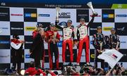 17 February 2019; Ott Tanak and Martin Jarveoja celebrate on the podium at the FIA World Rally Championship Sweden at Torsby in Sweden. Photo by Philip Fitzpatrick/Sportsfile