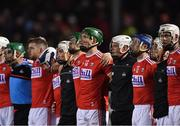 16 February 2019; Aidan Walsh of Cork, centre, and his team-mates stand for Amhrán na bhFiann before the Allianz Hurling League Division 1A Round 3 match between Cork and Clare at Páirc Uí Rinn in Cork. Photo by Piaras Ó Mídheach/Sportsfile