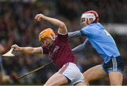 17 February 2019; Davy Glennon of Galway in action against Cian O'Callaghan of Dublin during the Allianz Hurling League Division 1B Round 3 match between Galway and Dublin at Pearse Stadium in Salthill, Galway. Photo by Harry Murphy/Sportsfile