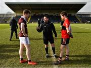 17 February 2019; Referee Derek O'Mahony with captains Kevin McDonnell of NUIG and Cian Kiely of UCC during the coin toss prior to the Electric Ireland Sigerson Cup semi-final match between University College Cork and National University of Ireland, Galway at Mallow GAA in Mallow, Cork. Photo by Seb Daly/Sportsfile