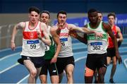 17 February 2019; Athletes from left, Cillin Greene of Galway City Harriers AC, Co. Galway, Thomas Barr of Ferrybank AC, Co. Waterford, Andrew Mellon of Crusaders AC, Co. Dublin, and Brandon  Arrey of Raheny Shamrock AC, Co. Dublin, competing in the Men's 400m during day two of the Irish Life Health National Senior Indoor Athletics Championships at the National Indoor Arena in Abbotstown, Dublin. Photo by Sam Barnes/Sportsfile