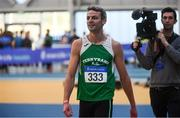 17 February 2019; Thomas Barr of Ferrybank AC, Co. Waterford, after competing in the 400m event during day two of the Irish Life Health National Senior Indoor Athletics Championships at the National Indoor Arena in Abbotstown, Dublin. Photo by Sam Barnes/Sportsfile