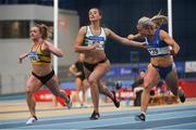 17 February 2019; Molly Scott, right, of St. L. O'Toole AC, Co. Carlow, winning the women's 60m event ahead of Ciara Neville, centre, of Emerald AC, Co. Limerick, and Joan Healy of Leevale AC, Co. Cork, competing in the 60m event  during day two of the Irish Life Health National Senior Indoor Athletics Championships at the National Indoor Arena in Abbotstown, Dublin. Photo by Eóin Noonan/Sportsfile