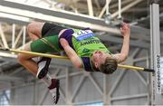 17 February 2019; Jordan Lee of Killarney Valley AC, Co. Kerry, competing in the men's High Jump event during day two of the Irish Life Health National Senior Indoor Athletics Championships at the National Indoor Arena in Abbotstown, Dublin. Photo by Eóin Noonan/Sportsfile