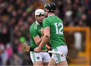 17 February 2019; Conor Boylan of Limerick, 12, celebrates scoring his side's second goal with team-mate Aaron Gillane during the Allianz Hurling League Division 1A Round 3 match between Kilkenny and Limerick at Nowlan Park in Kilkenny. Photo by Piaras Ó Mídheach/Sportsfile