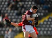 17 February 2019; Nathan Mullen of NUIG in action against Michael Flood of UCC during the Electric Ireland Sigerson Cup semi-final match between University College Cork and National University of Ireland, Galway at Mallow GAA in Mallow, Cork. Photo by Seb Daly/Sportsfile