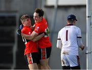17 February 2019; Conor Geaney of UCC, left, celebrates with team-mate Padraig Clifford after scoring his side's fourth goal during the Electric Ireland Sigerson Cup semi-final match between University College Cork and National University of Ireland, Galway at Mallow GAA in Mallow, Cork. Photo by Seb Daly/Sportsfile