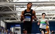 17 February 2019; Leon Reid of Menapians AC, Co. Wexford, celebrates after winning the 200m event during day two of the Irish Life Health National Senior Indoor Athletics Championships at the National Indoor Arena in Abbotstown, Dublin. Photo by Sam Barnes/Sportsfile