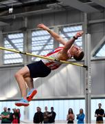 17 February 2019; Shane Aston of Trim AC, Co. Meath, competing in the Men's High Jump event during day two of the Irish Life Health National Senior Indoor Athletics Championships at the National Indoor Arena in Abbotstown, Dublin. Photo by Sam Barnes/Sportsfile
