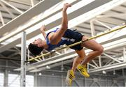 17 February 2019; Kourosh Foroughi of Star of the Sea AC, Co. Meath, competing in the men's High Jump event during day two of the Irish Life Health National Senior Indoor Athletics Championships at the National Indoor Arena in Abbotstown, Dublin. Photo by Eóin Noonan/Sportsfile