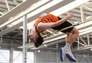 17 February 2019; Joseph McEvoy of Nenagh Olympic AC, Co. Tipperary, competing in the High Jump event during day two of the Irish Life Health National Senior Indoor Athletics Championships at the National Indoor Arena in Abbotstown, Dublin. Photo by Eóin Noonan/Sportsfile
