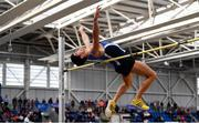 17 February 2019; Kourosh Foroughi of Star of the Sea AC, Co. Meath, competing in the Men's High Jump event during day two of the Irish Life Health National Senior Indoor Athletics Championships at the National Indoor Arena in Abbotstown, Dublin. Photo by Sam Barnes/Sportsfile