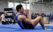 17 February 2019; Kourosh Foroughi of Star of the Sea AC, Co. Meath, reacts after a failed clearance whilst competing in the Men's High Jump event during day two of the Irish Life Health National Senior Indoor Athletics Championships at the National Indoor Arena in Abbotstown, Dublin. Photo by Sam Barnes/Sportsfile