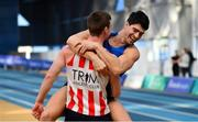 17 February 2019; Shane Aston of Trim AC, Co. Meath, left, is congratulated by Kourosh Foroughi of Star of the Sea AC, Co. Meath, whilst competing in the Men's High Jump event during day two of the Irish Life Health National Senior Indoor Athletics Championships at the National Indoor Arena in Abbotstown, Dublin. Photo by Sam Barnes/Sportsfile