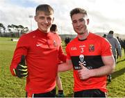 17 February 2019; Killian Spillane, left, and Kevin Flahive of UCC following their side's victory during the Electric Ireland Sigerson Cup semi-final match between University College Cork and National University of Ireland, Galway at Mallow GAA in Mallow, Cork. Photo by Seb Daly/Sportsfile