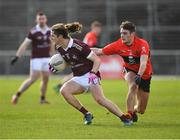 17 February 2019; Kieran Molloy of NUIG in action against Graham O'Sullivan of UCC during the Electric Ireland Sigerson Cup semi-final match between University College Cork and National University of Ireland, Galway at Mallow GAA in Mallow, Cork. Photo by Seb Daly/Sportsfile