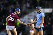 17 February 2019; Kevin Cooney of Galway shakes hands with Eoghan O'Donnell of Dublin following the Allianz Hurling League Division 1B Round 3 match between Galway v Dublin at Pearse Stadium in Salthill, Galway. Photo by Harry Murphy/Sportsfile