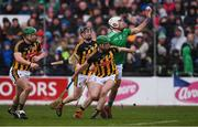 17 February 2019; Aaron Gillane of Limerick handpasses the ball, under pressure from Kilkenny players, from left, Paul Murphy, Enda Morrissey, and Tommy Walsh, to team-mate Shane Dowling, not pictured, before Dowling scored his side's first goal, during the Allianz Hurling League Division 1A Round 3 match between Kilkenny and Limerick at Nowlan Park in Kilkenny. Photo by Piaras Ó Mídheach/Sportsfile