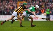 17 February 2019; Aaron Gillane of Limerick in action against Tommy Walsh of Kilkenny during the Allianz Hurling League Division 1A Round 3 match between Kilkenny and Limerick at Nowlan Park in Kilkenny. Photo by Piaras Ó Mídheach/Sportsfile