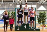 17 February 2019; Chair of Coaching and Development Brid Golden, left, and Dearbhla Smith, with Men's 60m Hurdles medallists from left, Rolus Olusa of Clonliffe Harriers AC, Co. Dublin, silver, Matthew Behan of Crusaders AC, Co. Dublin, gold, and Shane Aston of Trim AC, Co. Meath, bronze, during day two of the Irish Life Health National Senior Indoor Athletics Championships at the National Indoor Arena in Abbotstown, Dublin. Photo by Sam Barnes/Sportsfile