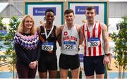 17 February 2019; Chair of Coaching and Development Brid Golden, left, with Men's 60m Hurdles medallists from left, Rolus Olusa of Clonliffe Harriers AC, Co. Dublin, silver, Matthew Behan of Crusaders AC, Co. Dublin, gold, and Shane Aston of Trim AC, Co. Meath, bronze, during day two of the Irish Life Health National Senior Indoor Athletics Championships at the National Indoor Arena in Abbotstown, Dublin. Photo by Sam Barnes/Sportsfile