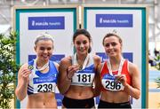 17 February 2019; Women's 60m hurrdles medalists, from left, Molly Scott of St. L. O'Toole AC, Co, Carlow, Silver, Kate Doherty of Dundrum South Dublin AC, Co Dublin, Gold and Sarah Quinn of St. Colmans South Mayo AC, Co. Mayo, Bronze during day two of the Irish Life Health National Senior Indoor Athletics Championships at the National Indoor Arena in Abbotstown, Dublin. Photo by Eóin Noonan/Sportsfile