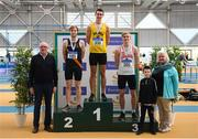 17 February 2019; Athletics Ireland President Georgina Drumm with men's Long Jump event medalist, from left, Keith Marks of Clonliffe Harriers AC, Co. Dublin, Silver, Shane Howard of Bandon AC, Co. Cork, Gold, and Shane Keane of Crusaders AC, Co. Dublin, Bronze during day two of the Irish Life Health National Senior Indoor Athletics Championships at the National Indoor Arena in Abbotstown, Dublin. Photo by Eóin Noonan/Sportsfile