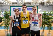 17 February 2019; Men's Long Jump event medalist, from left, Keith Marks of Clonliffe Harriers AC, Co. Dublin, Silver, Shane Howard of Bandon AC, Co. Cork, Gold, and Shane Keane of Crusaders AC, Co. Dublin, Bronze during day two of the Irish Life Health National Senior Indoor Athletics Championships at the National Indoor Arena in Abbotstown, Dublin. Photo by Eóin Noonan/Sportsfile