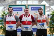 17 February 2019; Men's Shotput event medalists, from left, Brendan Staunton of Galway City Harriers AC, Co. Galway, Silver, Sean Breathnach of Galway City Harriers AC, Co. Galway, Gold and Michael Breathnach of Galway City Harriers AC, Co. Galway, Bronze during day two of the Irish Life Health National Senior Indoor Athletics Championships at the National Indoor Arena in Abbotstown, Dublin. Photo by Eóin Noonan/Sportsfile