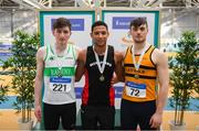 17 February 2019; Men's 200m medalists, from left, Mark Smyth of Raheny Shamrock AC, Co. Dublin, Silver, Leon Reid of Menapians AC, Co. Wexford, Gold, and Conor Morey of Leevale AC, Co. Cork, Bronze during day two of the Irish Life Health National Senior Indoor Athletics Championships at the National Indoor Arena in Abbotstown, Dublin. Photo by Eóin Noonan/Sportsfile
