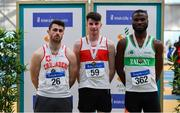 17 February 2019;  Men's 400m medallists, from left, Andrew Mellon of Crusaders AC, Co. Dublin, silver, Cillin Greene of Galway City Harriers AC, Co. Galway, gold, and Brandon  Arrey of Raheny Shamrock AC, Co. Dublin, bronze,  during day two of the Irish Life Health National Senior Indoor Athletics Championships at the National Indoor Arena in Abbotstown, Dublin. Photo by Sam Barnes/Sportsfile