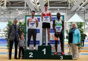 17 February 2019; Athletics Ireland president Georgina Drumm, right, and George Maybury, Chairman of Finance and Risk, left, with Men's 400m medallists, from left, Andrew Mellon of Crusaders AC, Co. Dublin, silver, Cillin Greene of Galway City Harriers AC, Co. Galway, gold, and Brandon  Arrey of Raheny Shamrock AC, Co. Dublin, bronze,  during day two of the Irish Life Health National Senior Indoor Athletics Championships at the National Indoor Arena in Abbotstown, Dublin. Photo by Sam Barnes/Sportsfile