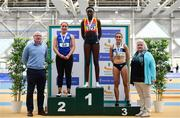17 February 2019; Athletics Ireland CEO Hamish Adams, left, and Athletics Ireland President Georgina Drumm with Women's 200m medallists, from left, Catherine McManus of Dublin City Harriers AC, Co. Dublin, silver, Rhasidat Adeleke of Tallaght AC, Co. Dublin, gold, and Aoife Lynch of Donore Harriers, Co. Dublin, bronze, during day two of the Irish Life Health National Senior Indoor Athletics Championships at the National Indoor Arena in Abbotstown, Dublin. Photo by Sam Barnes/Sportsfile
