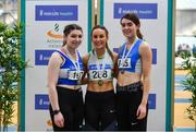 17 February 2019; Women's triple jump medallists, from left, Lauren Callaghan of Finn Valley AC, Co. Dongeal, silver, Saragh Buggy of St. Abbans AC, Co. Carlow, gold, and Grace Furlong of Waterford AC, Co. Waterford, bronze, during day two of the Irish Life Health National Senior Indoor Athletics Championships at the National Indoor Arena in Abbotstown, Dublin. Photo by Sam Barnes/Sportsfile