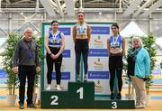 17 February 2019; Athletics Ireland President Georgina Drumm, right, and Pat Hooper, with women's triple jump medallists, from left, Lauren Callaghan of Finn Valley AC, Co. Dongeal, silver, Saragh Buggy of St. Abbans AC, Co. Carlow, gold, and Grace Furlong of Waterford AC, Co. Waterford, bronze, during day two of the Irish Life Health National Senior Indoor Athletics Championships at the National Indoor Arena in Abbotstown, Dublin. Photo by Sam Barnes/Sportsfile