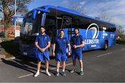18 February 2019; Leinster Rugby and Aircoach announced today that Aircoach will continue as Official Coach Supplier to Leinster Rugby and their new 191 D bus was also unveiled to the players and coaching team at their UCD base. The new bus will be responsible for transport of the Leinster Rugby squad to and from Dublin Airport for all their away fixtures throughout the season as well as inter-provincial Guinness PRO14 games. In attendance at Leinster Rugby HQ in UCD were Dervla McKay, Managing Director of Aircoach, Mick Dawson, CEO of Leinster Rugby, Leo Cullen, Head Coach of Leinster Rugby, John Fogarty, Leinster scrum coach with Leinster Rugby players Caelan Doris and Barry Daly. Pictured are John Fogarty, centre, with Caelan Doris, left, and Barry Daly. Photo by Piaras Ó Mídheach/Sportsfile