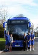 18 February 2019; Leinster Rugby and Aircoach announced today that Aircoach will continue as Official Coach Supplier to Leinster Rugby and their new 191 D bus was also unveiled to the players and coaching team at their UCD base. The new bus will be responsible for transport of the Leinster Rugby squad to and from Dublin Airport for all their away fixtures throughout the season as well as inter-provincial Guinness PRO14 games. In attendance at Leinster Rugby HQ in UCD were Dervla McKay, Managing Director of Aircoach, Mick Dawson, CEO of Leinster Rugby, Leo Cullen, Head Coach of Leinster Rugby, John Fogarty, Leinster scrum coach with Leinster Rugby players Caelan Doris and Barry Daly. Pictured are, from left, Leo Cullen, Dervla McKay, Mick Dawson, Barry Daly and Caelan Doris. Photo by Piaras Ó Mídheach/Sportsfile
