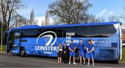 18 February 2019; Leinster Rugby and Aircoach announced today that Aircoach will continue as Official Coach Supplier to Leinster Rugby and their new 191 D bus was also unveiled to the players and coaching team at their UCD base. The new bus will be responsible for transport of the Leinster Rugby squad to and from Dublin Airport for all their away fixtures throughout the season as well as inter-provincial Guinness PRO14 games. In attendance at Leinster Rugby HQ in UCD were Dervla McKay, Managing Director of Aircoach, Mick Dawson, CEO of Leinster Rugby, Leo Cullen, Head Coach of Leinster Rugby, John Fogarty, Leinster scrum coach with Leinster Rugby players Caelan Doris and Barry Daly. Pictured are, from left, Dervla McKay, Mick Dawson, Caelan Doris, Leo Cullen and Barry Daly. Photo by Piaras Ó Mídheach/Sportsfile