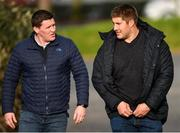18 February 2019; Atlanta Falcons NFL player Alex Mack, right, and Blackrock rugby coach Mick Carroll arrive for Leinster Rugby Squad Training at Rosemount in UCD, Dublin. Photo by Piaras Ó Mídheach/Sportsfile