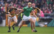 17 February 2019; Dan Morrissey of Limerick in action against Walter Walsh, left, and James Maher of Kilkenny during the Allianz Hurling League Division 1A Round 3 match between Kilkenny and Limerick at Nowlan Park in Kilkenny. Photo by Piaras Ó Mídheach/Sportsfile