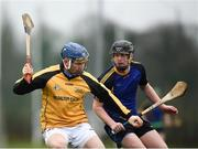 19 February 2019; James Quigley of Kildalton College in action against Padraig McGahan of DKIT during the Electric Ireland HE GAA Corn Padraig Mac Diarmada Final match between Dundalk Institute of Technology and Kildalton College at the GAA Centre of Excellence in Abbotstown, Dublin. Photo by Harry Murphy/Sportsfile