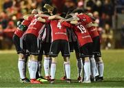 15 February 2019; A general view of the Derry City pre match huddle before the SSE Airtricity League Premier Division match between Derry City and UCD at the Ryan McBride Brandywell Stadium in Derry. Photo by Oliver McVeigh/Sportsfile