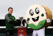 20 February 2019; Republic of Ireland Head Coach Colin O'Brien at the unveiling of Barry The Bodhran, the official tournament mascot for the 2019 UEFA U17 European Championships, which was designed by competition winner Clara Hogan, aged 11 from Scoil Mhuire, Barntown, Co Wexford, at Tallaght Stadium in Dublin. Photo by Stephen McCarthy/Sportsfile