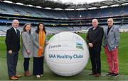 20 February 2019; In attendance are, TILDA ambassadors, from left, Eamonn Rea, former Limerick Hurler, Claire Egan, former Mayo footballer, Maria Devenney, former Donegal footballer, Anthony Molloy, former Donegal footballer and Denis Coughlan, former Cork dual player, during the How to Age Well: GAA and TILDA Partnership launch at Croke Park in Dublin. The partnership  will see live talks take place across Ireland in Mayo, Cork, Donegal, Longford and Limerick. Photo by Sam Barnes/Sportsfile