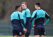 20 February 2019; Chris Farrell, centre, with Bundee Aki, left, and Conor Murray during Ireland Rugby squad training at Carton House in Maynooth, Kildare. Photo by Brendan Moran/Sportsfile